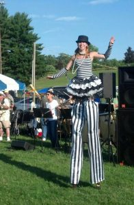 stafford springs summer fest with Lady Blaze on stilts, black and white stripes