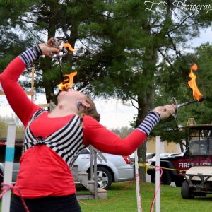 Lady Blaze fire eating at the New England Chili cookoff